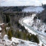 Looking out over West Duffins Creek along the Seaton Trail during winter